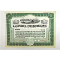 Lancaster Iron Works, Inc., ca.1930-1940 Specimen Stock Certificate