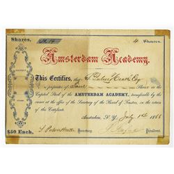 Amsterdam Academy, 1866 Stock Certificate.