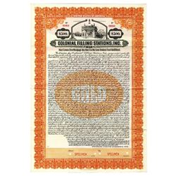 Colonial Filling Stations, Inc., 1923 Specimen Bond