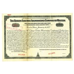 Edison Electric Illuminating Co. of Boston, 1922 Specimen Bond
