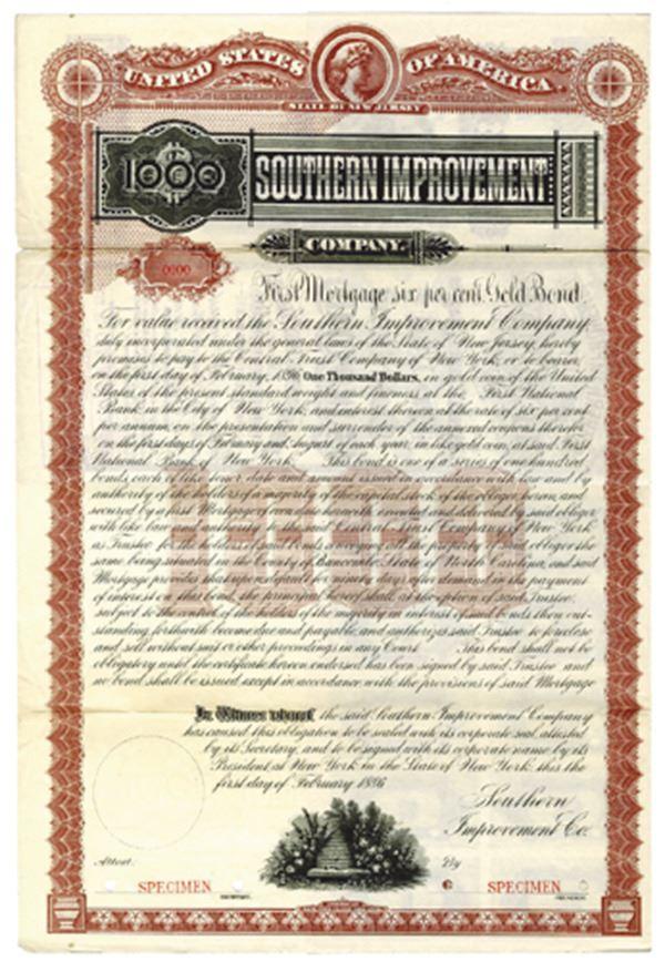 Southern Improvement Co , 1886 Specimen Bond