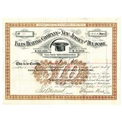 Fales Heating Co. of New Jersey and Delaware, 1890 Issued Stock Certificate