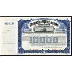 San Pedro, Los Angeles & Salt Lake Railroad Co. 1911 Specimen Bond.