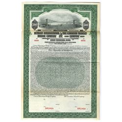 Detroit International Bridge Co. and Canadian Transit Co., 1927 Specimen Bond