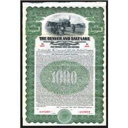 Denver and Salt Lake Railroad Specimen Bond. 1913.