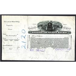 Savannah & Atlanta Railway. GA. 19xx (ca.1910-20's). Stock Certificate Proof.