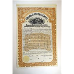 Chicago, Peoria and St.Louis Railway Company of Illinois, 1900 Specimen Bond.