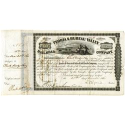 Peoria and Bureau Valley Railroad Co., 1860 Issued Stock Signed by N.B. Judd, Lincoln's Campaign man