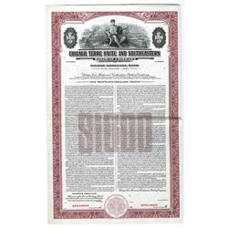 Chicago, Terre Haute and Southeastern Railway Co. Specimen Bond.