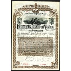 Indianapolis, Decatur and Western Railway Co., 1888 Specimen Bond.