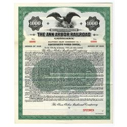 Ann Arbor Railroad Co., 1920 Specimen Bond