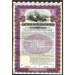 Lake Shore & Michigan Southern Railway Co. 1906 Specimen Coupon Bond.