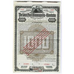 Saint Paul, Minneapolis and Manitoba Railway Co., 1883 Specimen Bond With Legend Changing Interest r