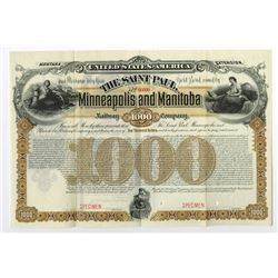 Saint Paul, Minneapolis and Manitoba Railway Co., 1887 Specimen Bond