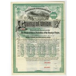 County of Union, 1883 Specimen Bond