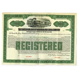United New Jersey Railroad and Canal Co., 1872 Specimen Bond