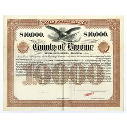 County of Broome, 1897 Specimen Bond