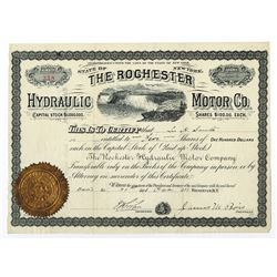 Rochester Hydraulic Motor Co., 1881 Stock Certificate.