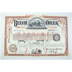 Beech Creek Railroad Co., 1970 Specimen Stock Certificate