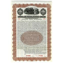 Cambria and Indiana Railroad Co., 1919 Specimen Bond