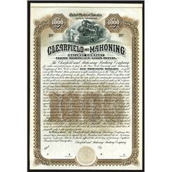 Clearfield and Mahoning Railway Co. 1893 Specimen bond.