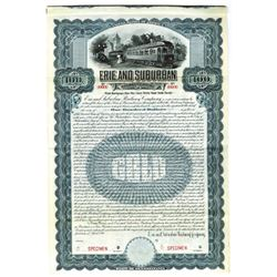 Erie and Suburban Railway Co., 1911 Specimen Bond