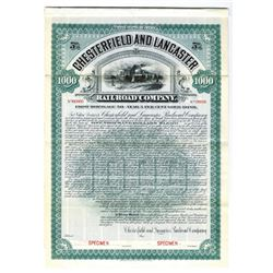 Chesterfield and Lancaster Railroad Co., 1905 Specimen Bond