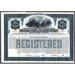 Milwaukee, Sparta and North Western Railway Co., 1912, $5000 Specimen Bond.