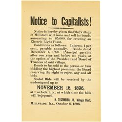 Notice to Capitalists, 1896 Advertising Broadside.