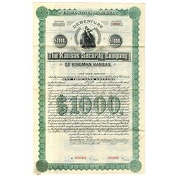 Kansas Security Co., ca.1880-1900 Specimen Bond