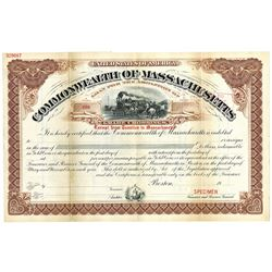 Commonwealth of Massachusetts, ca.1900-1920 Specimen Bond