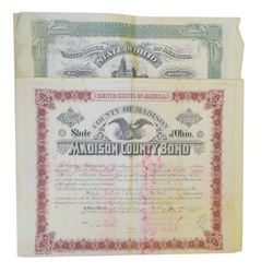 Madison County and Pickaway County Ohio Group of Issued Bonds ca.1880-1890