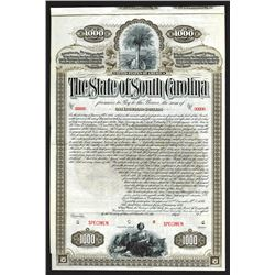 State of South Carolina Specimen Bond.