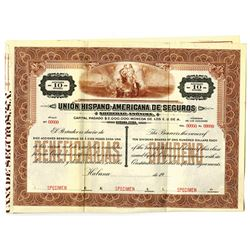 Union Hispano-Americana De Seguros, ca.1900-1920 Specimen Stock Certificate