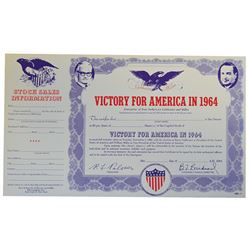 Goldwater Miller Victory for America in 1964, 25+ Specimen Stock Certificates