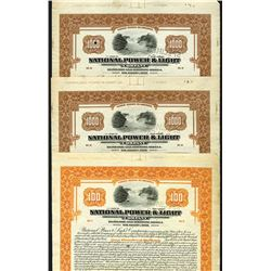 National Power & Light, 1926 Specimen bond Trio.
