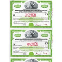 Consolidated Edison Company of New York, Inc., 1981 Specimen Registered Bond Strip of 5 Uncut Bonds.
