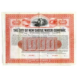 City of New Castle Water Co., 1901 Specimen Bond