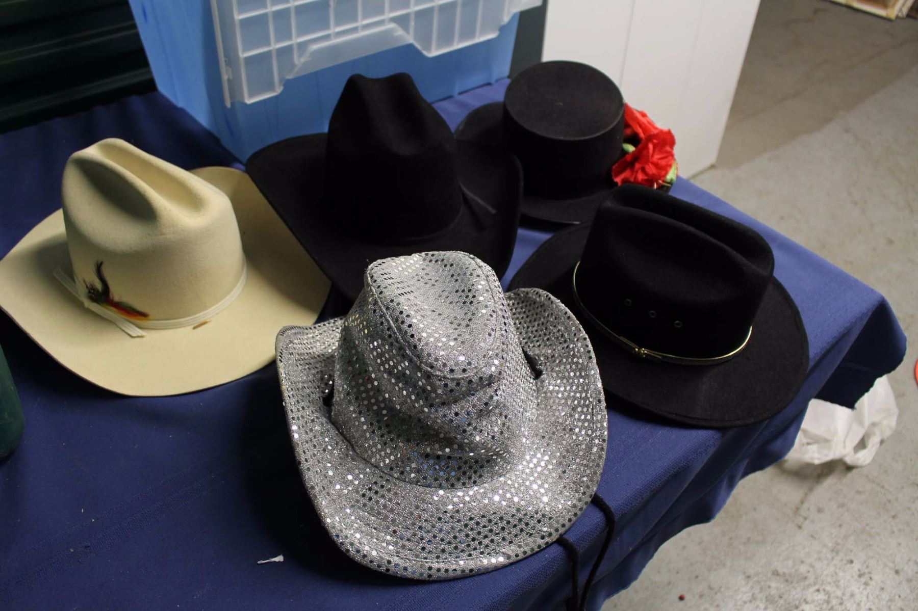 99421446f Lot of Vintage Cowboy Hats & Christmas Related Decorations With Storage Tot