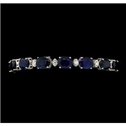 33.51 ctw Sapphire and Diamond Bracelet - 14KT White Gold
