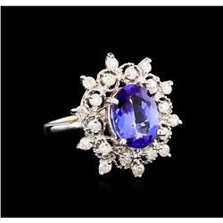 14KT White Gold 3.07 ctw Tanzanite and Diamond Ring