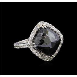 8.30 ctw Black Diamond Ring - 14KT White Gold