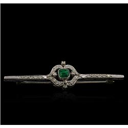 0.51 ctw Emerald and Diamond Pin - 10KT White Gold
