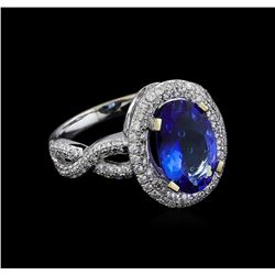 18KT White Gold 2.79 ctw Tanzanite and Diamond Ring