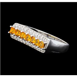 0.80 ctw Citrine and Diamond Ring - 14KT White Gold