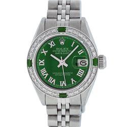 Rolex Stainless Steel Green Roman Diamond and Emerald DateJust Ladies Watch