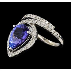 3.94 ctw Tanzanite and Diamond Ring - 14KT White Gold