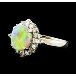 1.72 ctw Opal and Diamond Ring - Platinum