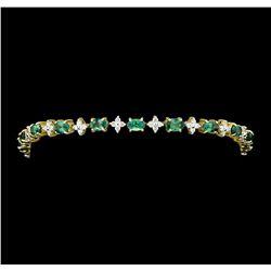 5.43 ctw Alexandrite And Diamond Bracelet - 14KT Yellow Gold