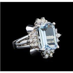14KT White Gold 4.60 ctw Aquamarine and Diamond Ring